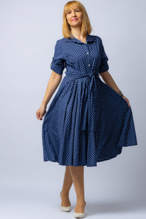Rochie camasa bleumarin cu bulinute, din tesatura fina de bumbac [0]