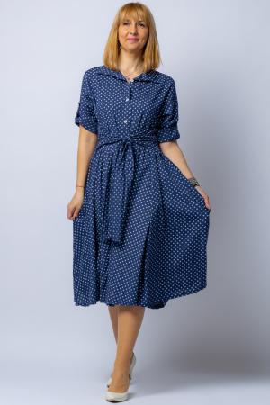Rochie camasa bleumarin cu bulinute, din tesatura fina de bumbac [1]