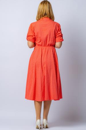 Rochie camasa corai cu bulinute, din tesatura fina de bumbac [2]