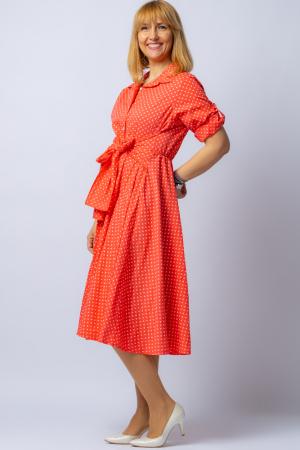 Rochie camasa corai cu bulinute, din tesatura fina de bumbac [1]