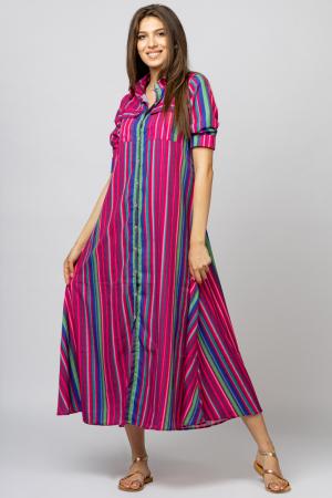 Rochie lunga tip camasa cu dungi fucsia [0]