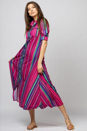 Rochie lunga tip camasa cu dungi fucsia [1]