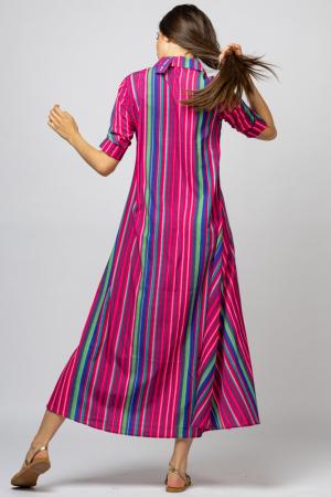 Rochie lunga tip camasa cu dungi fucsia [3]