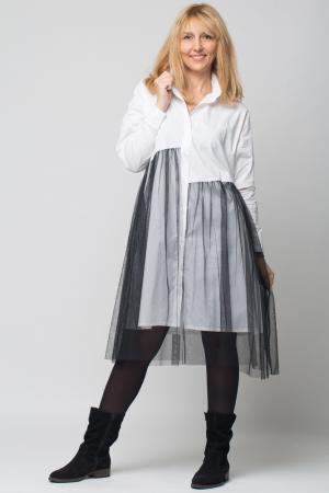 Rochie camasa lunga alba cu tul [0]