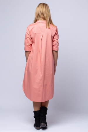 Rochie camasa lunga roz cu imprimeu girlish2