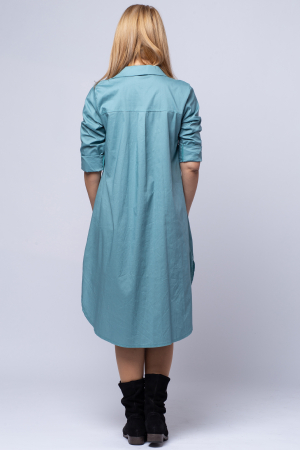 Rochie camasa lunga turcoaz cu imprimeu girlish [2]