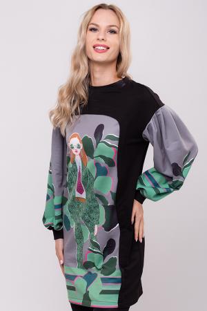 Rochie chic cu maneci bufante si imprimeu colorat [0]