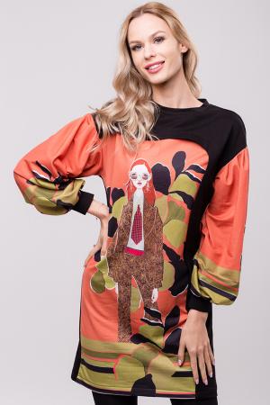 Rochie chic cu maneci bufante si imprimeu colorat0