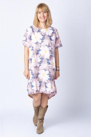 Rochie cu flori de nufar picturale, asimetrica, pe fond roz prafuit [0]