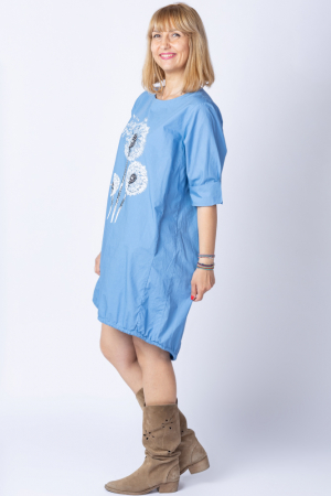 Rochie cu papadii stilizate si strasuri, asimetrica, pe fond albastru jeans [1]