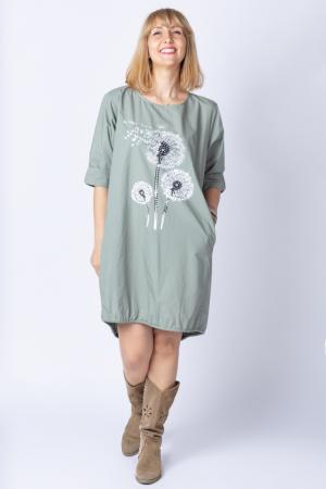 Rochie cu papadii stilizate si strasuri, asimetrica, pe fond kaki [0]