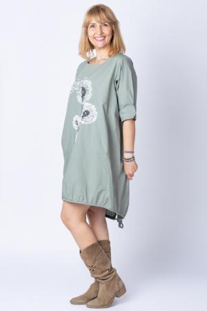 Rochie cu papadii stilizate si strasuri, asimetrica, pe fond kaki [1]