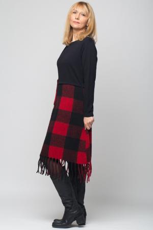 Rochie din lana ecozez rosu-negru cu franjuri si paiete1