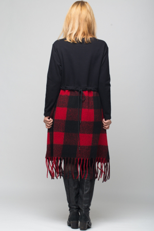 Rochie din lana ecozez rosu-negru cu franjuri si paiete2