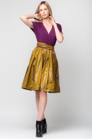 Rochie din tricot mov si tafta bronz0