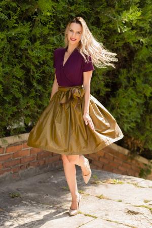 Rochie din tricot mov si tafta bronz2