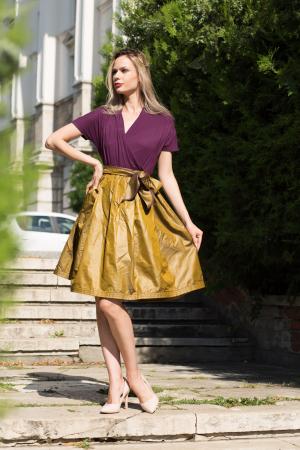 Rochie din tricot mov si tafta bronz4