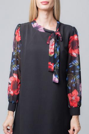 Rochie eleganta, neagra, midi, cu maneci si guleras din voal inflorat2