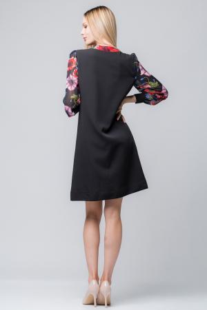 Rochie eleganta, neagra, midi, cu maneci si guleras din voal inflorat1