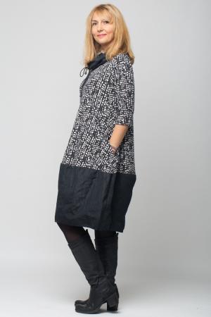 Rochie gogosar din tafta neagra si tricot imprimeu [6]
