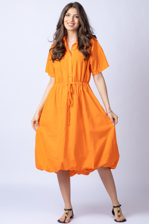 Rochie gogosar portocalie, cu guler camasa, din bumbac [0]