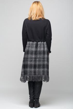 Rochie gri-negru din lana ecozez cu franjuri si paiete [2]