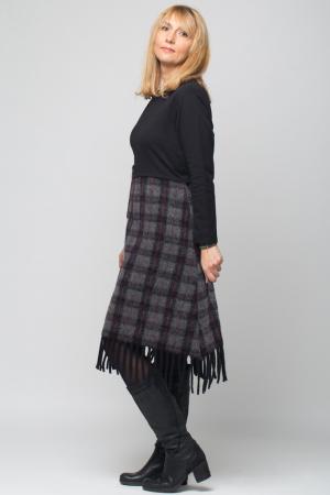 Rochie negru-gri inchis din lana ecozez cu franjuri si paiete [4]