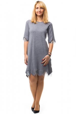 Rochie gri tricotata eleganta cu terminatie de dantela aplicata4