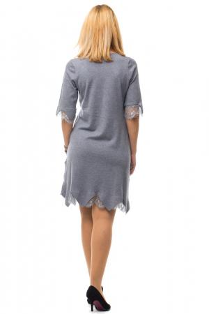 Rochie gri tricotata eleganta cu terminatie de dantela aplicata3