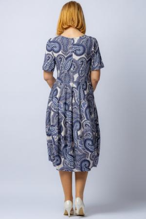 Rochie lalea cu imprimeu arabesque alb-albastru [2]