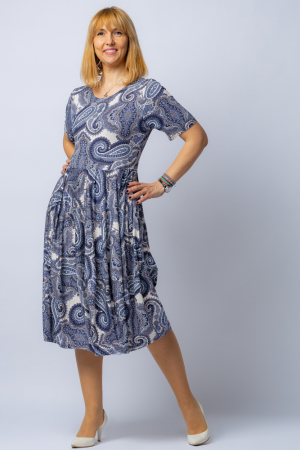 Rochie lalea cu imprimeu arabesque alb-albastru [0]