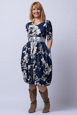 Rochie lalea cu imprimeu floral alb-albastru0