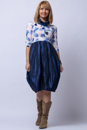 Rochie lalea cu imprimeu frunze si tafta albastra [0]