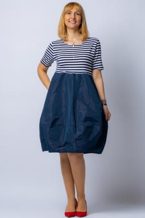 Rochie lalea cu imprimeu marinar alb negru si tafta bleumarin0