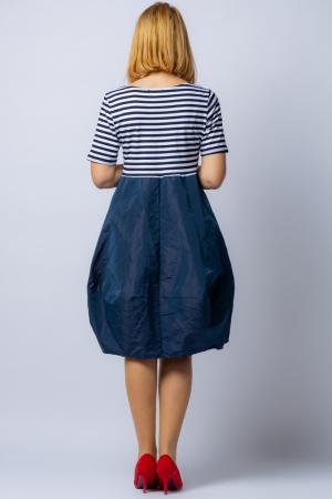 Rochie lalea cu imprimeu marinar alb negru si tafta bleumarin2