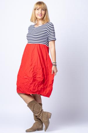 Rochie lalea cu imprimeu marinar alb bleumarin si tafta rosie [1]