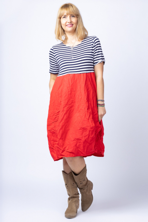 Rochie lalea cu imprimeu marinar alb bleumarin si tafta rosie [0]