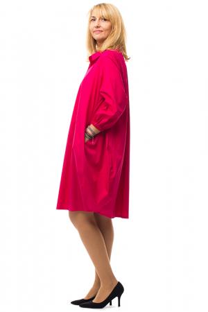Rochie lalea midi roz fucsia cu guler camasa1