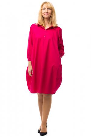 Rochie lalea midi roz fucsia cu guler camasa3