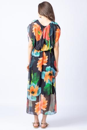 Rochie lunga, cu imprimeu floral multicolor pe fond negru, din matase3