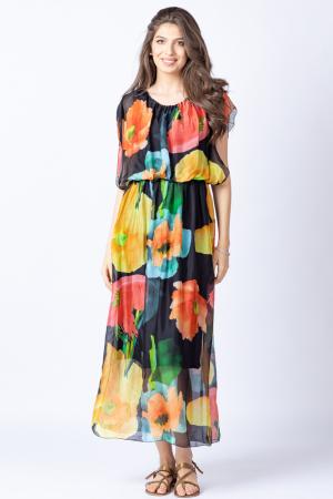 Rochie lunga, cu imprimeu floral multicolor pe fond negru, din matase1