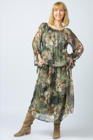 Rochie lunga, cu imprimeu floral pe nuante de verde kaki, din matase [0]