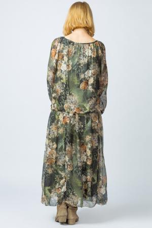 Rochie lunga, cu imprimeu floral pe nuante de verde kaki, din matase [2]