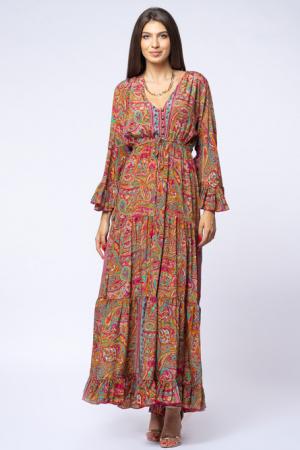 Rochie lunga cu volane si imprimeu floral, din matase indiana fucsia - verde [1]
