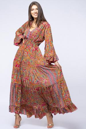 Rochie lunga cu volane si imprimeu floral, din matase indiana fucsia - verde [2]
