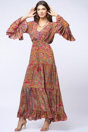 Rochie lunga cu volane si imprimeu floral, din matase indiana fucsia - verde [0]