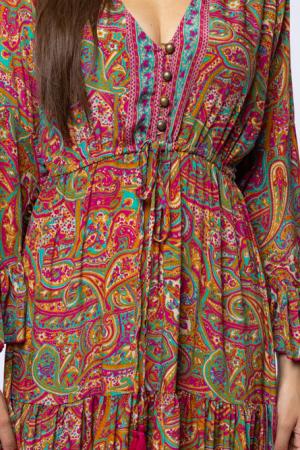 Rochie lunga cu volane si imprimeu floral, din matase indiana fucsia - verde [4]