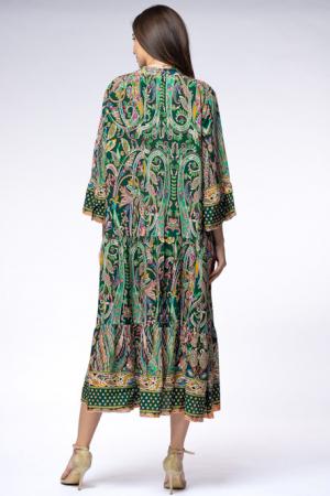 Rochie lunga din vascoza cu doua volane si imprimeu decorativ pe fond verde [2]