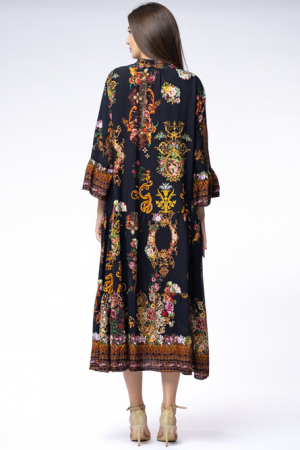 Rochie lunga gipsy din vascoza cu doua volane si imprimeu decorativ pe fond negru [4]