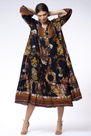Rochie lunga gipsy din vascoza cu doua volane si imprimeu decorativ pe fond negru [3]